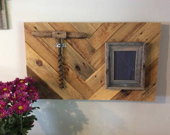 Rustic Wall Decor With Herringbone Reclaimed Wood Design,Repurposed Wood Picture Frame,Vintage Hand Drill,Rustic Home Decor,Gift For Man