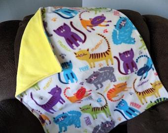 Colorful Cat Fleece Blanket - Pet Fleece Blanket