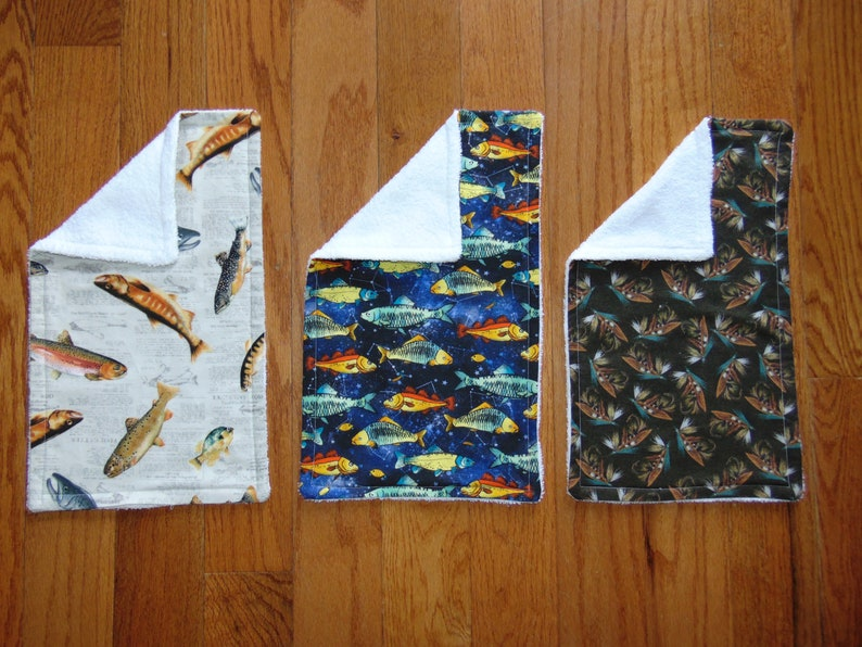 Set of three Fishing Burp Cloths