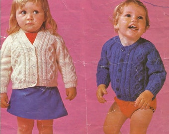 Vintage Argyll Baby Cardigans for Boys and Girls - Double Knitting Pattern
