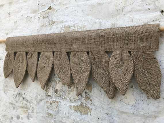 Burlap Curtains Primitive Kitchen Valance Botanical Country Curtain Rustic  Farmhouse Window Treatments Primitive Natural Jute Decor Brown
