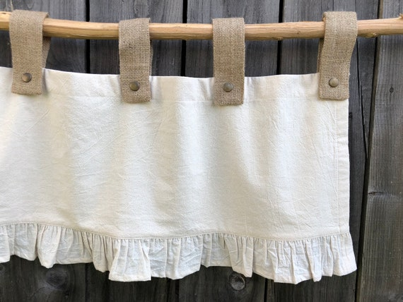 French Country Curtains Cottage Burlap Kitchen Ruffle Valance Simple French  Chic Country Ruffled Window Treatment Farmhouse Curtain Valances