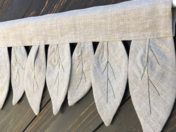 Linen Curtains Primitive Kitchen Valance Botanical Country Curtain Rustic  Farmhouse Window Treatments Primitive Natural Flax Linen Decor