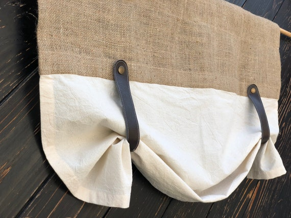 Burlap Curtains Kitchen Valance Faux Leather Tie Up Country Etsy