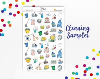 Cleaning Sampler- Planner Stickers; Chores, Clean