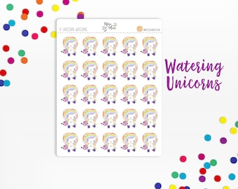 Planner Sticker Icons- Watering Can Unicorn, Gardening, Plants