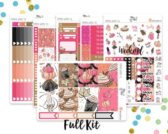 Pumpkin Whimsy- Vertical Weekly Kit planner stickers; Fall, Pie