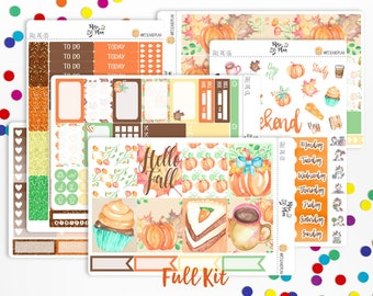 Fall Pie- Vertical WEEKLY KIT Planner Stickers; Autumn, Thanksgiving