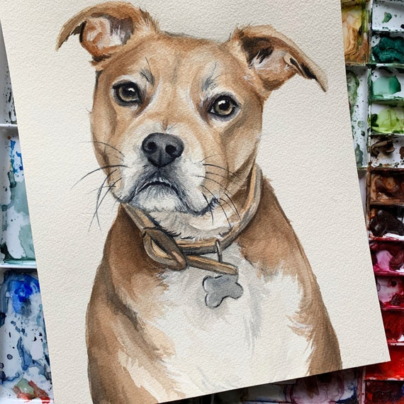 watercolor dog portrait Custom Pet portrait watercolor painting cat portrait dog owner gift custom dog painting dog wall art