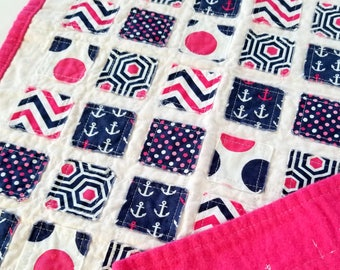Doll Quilt - pink and navy