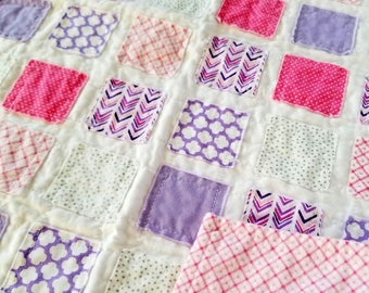 Doll Quilt - pink and purple