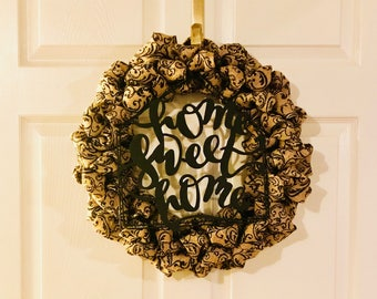 Home Sweet Home Black Scroll Burlap Bubble Wreath, Front Door Wreath, Spring Wreath, Year Round Wreath, Housewarming Gift, Home Decor, Gift