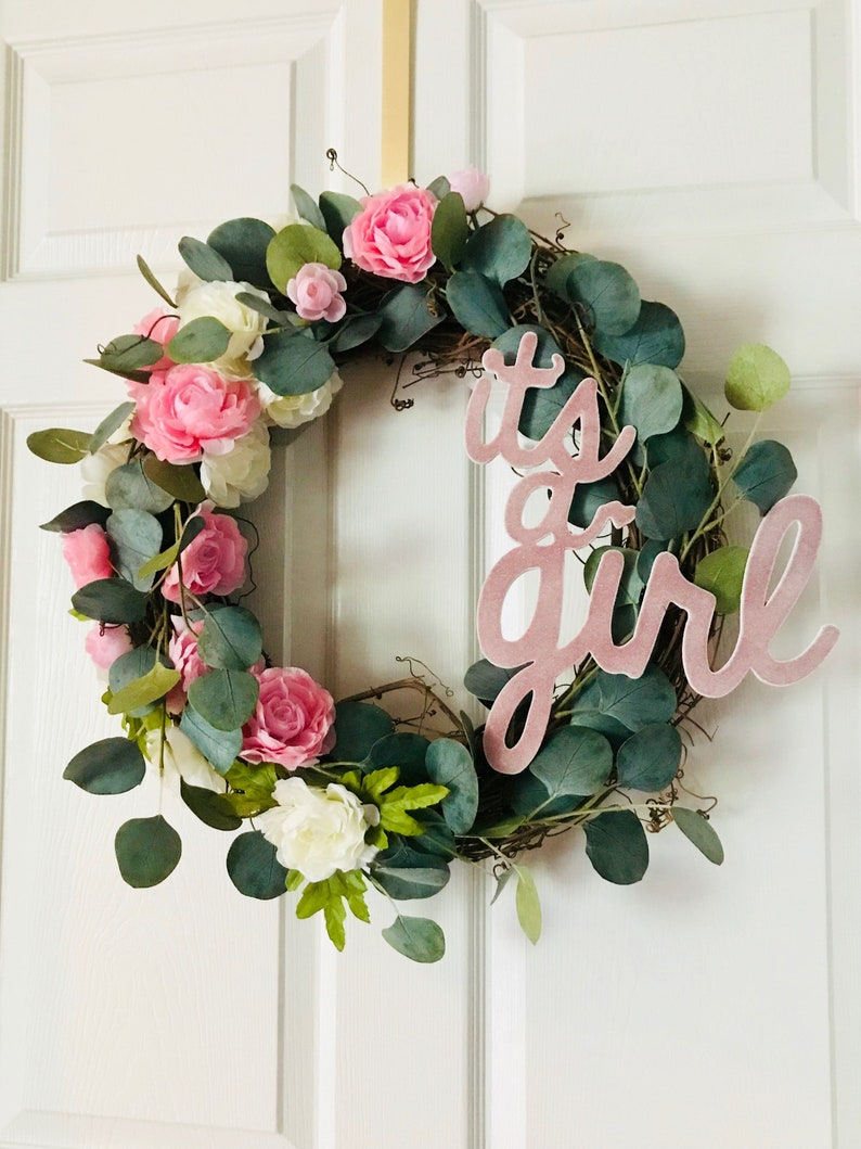 It S A Girl Pink And Cream Peony Grapevine Wreath Front Etsy