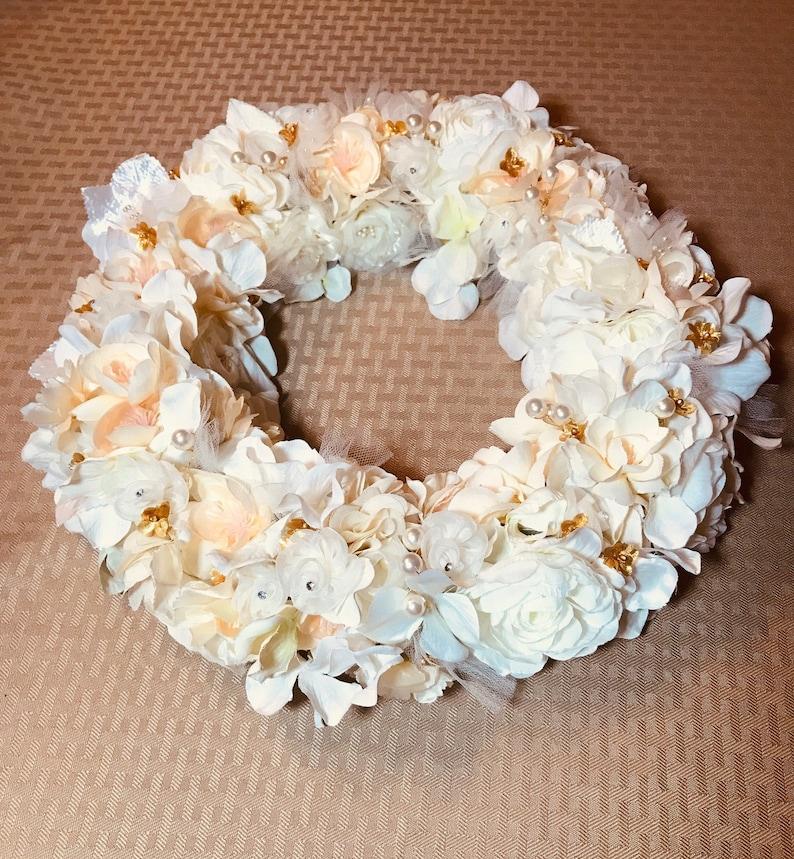 Ivory and Gold Wedding Centerpiece Wreath Centerpiece Idea Custom White Bridal Shower Table Decor Reception Decor floral Candle Vase
