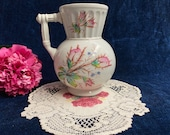 Antique White Ironstone Moss Rose Hot Water Pitcher Ionic Style by Knowles Taylor and Knowles 1880 39 s