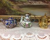 Mini Cloisonne Teapots, Three Decorative Chinese Cloisonne Teapots