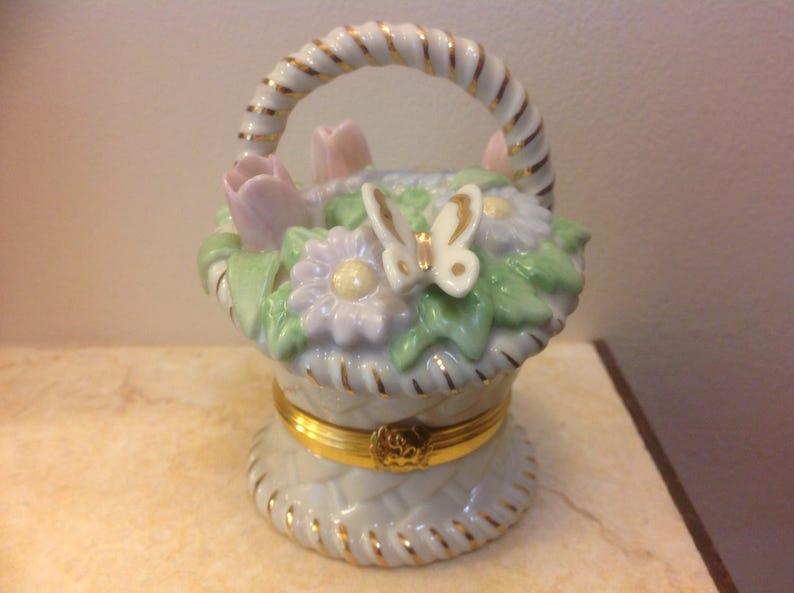 Vintage Lenox Treasures Basket of Blossoms Exclusive Edition Trinket Box