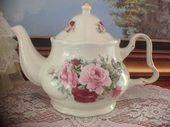 Victorian Rose Teapot Formalities By Baum Bros 6 Cup Teapot Etsy