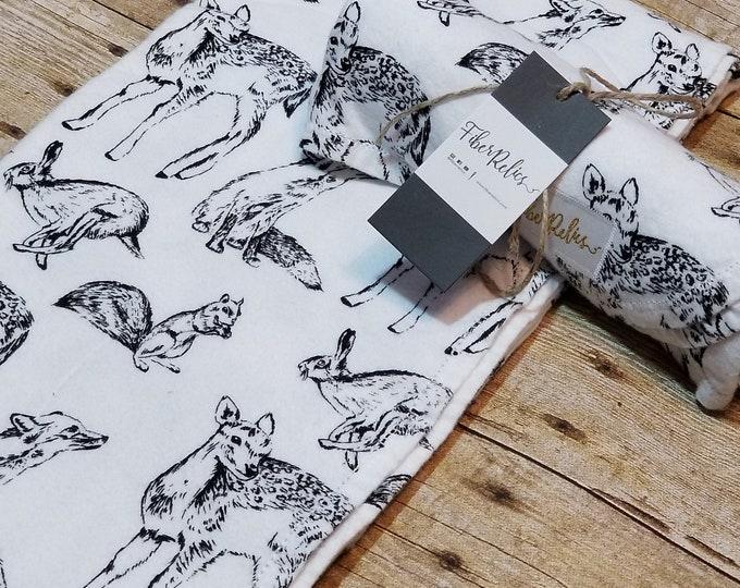 B/W Baby Animal Flannel Blanket