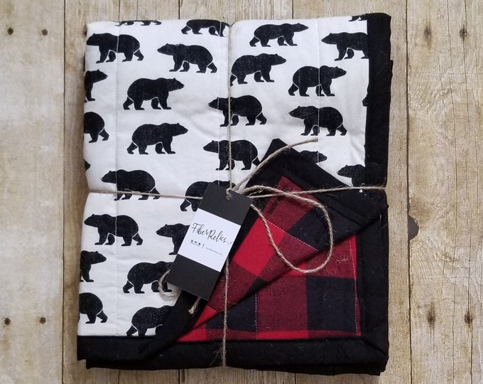 Black Bear and Buffalo Plaid Quilt