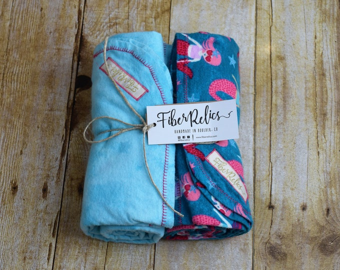 Mermaid and Turquoise Flannel Blankets