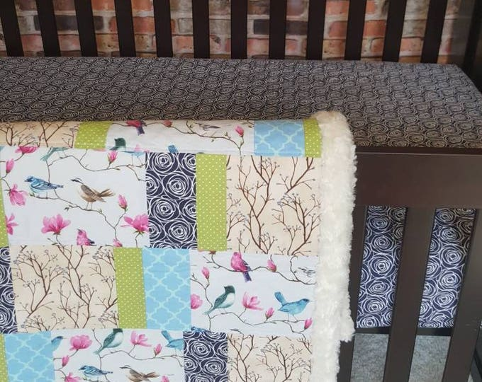 Songbird- Handmade Quilt with Navy Blue Rosebud Crib Sheet