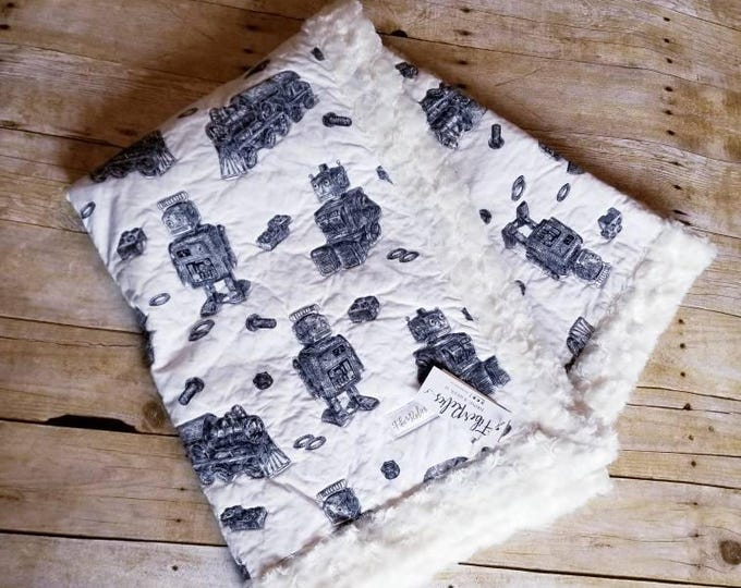 Robots and Trains Quilted Blanket, Ivory Minky Backing