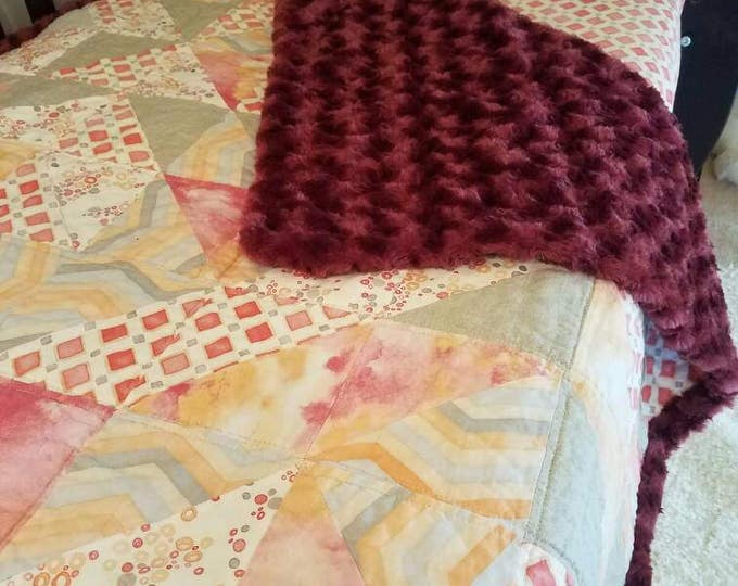 Black Raspberry- 3 Piece- Handmade Crib Quilt with Crib Skirt and Crib Sheet
