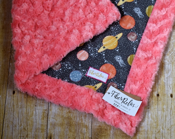 Planet Quilted Lovey, Melon Minky Backing