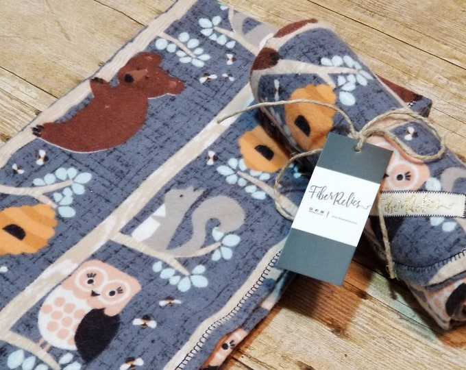 Honey Bears, Owls & Squirrels Over-sized Flannel Receiving Blanket