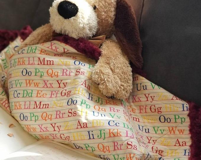 Alphabet Quilted Blanket, Burgundy Minky, Teacher Gift, Toddler