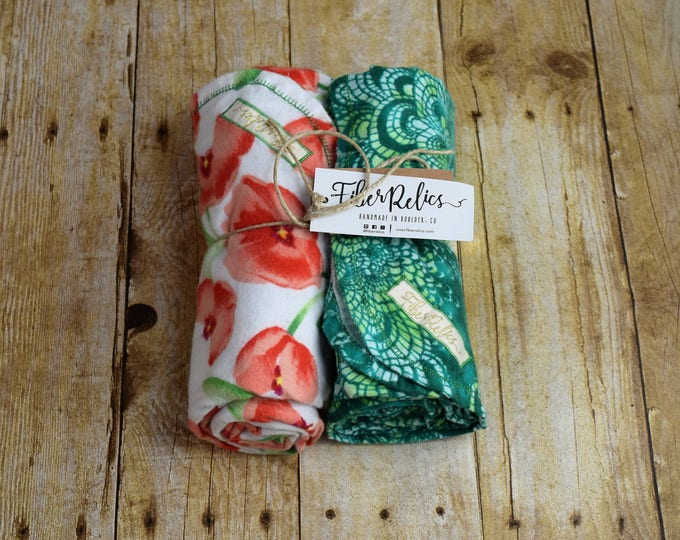 Poppy and Green Batik Flannel Receiving Blankets, 2 Pack