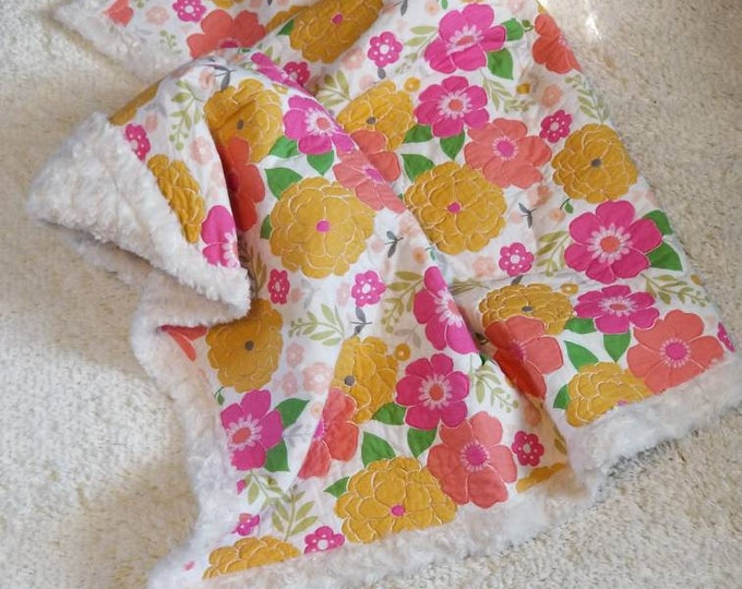 Vintage Yellow and Pink Floral Quilted Blanket, Ivory Minky Backing