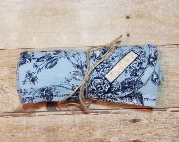 Navy Floral Over-sized Flannel Receiving Blanket