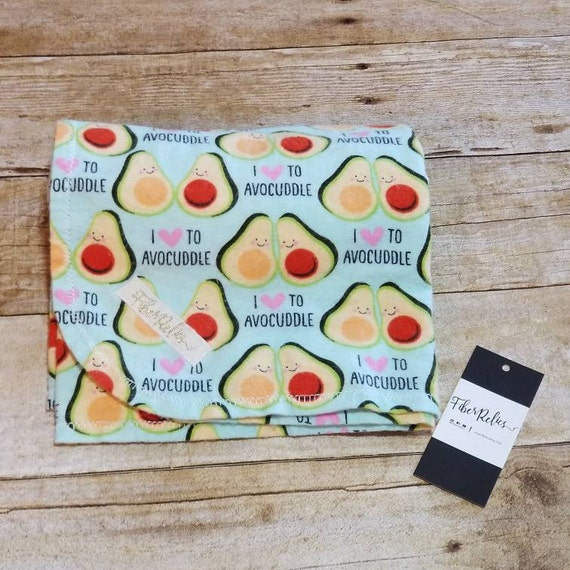 """Avocuddle"" Over-sized Flannel Receiving Blanket, Swaddle"