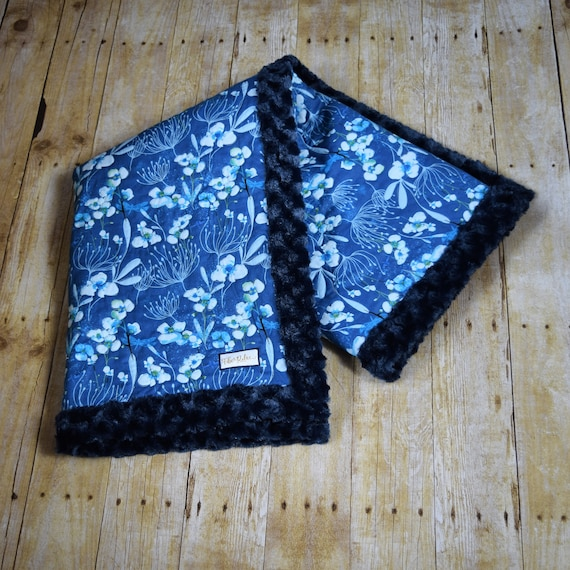 Blue Orchid Quilted Blanket, Navy Blue Minky