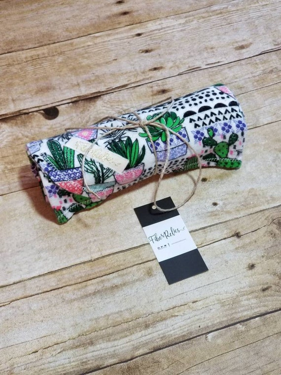Cacti, White Over-sized, light weight, Flannel Receiving Blanket, Swaddle