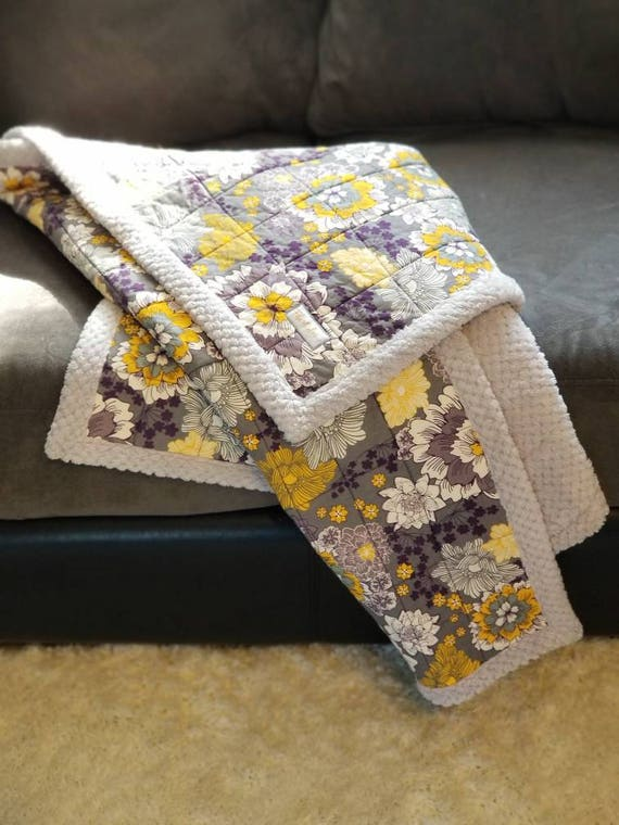 Purple/Yellow/Gray Floral Quilted Blanket, Gray Fleece Backing