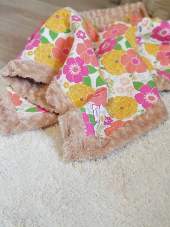 Vintage Pink and Yellow Floral Quilted Blanket, Minky Backing in Camel