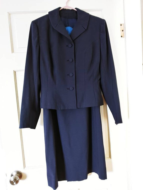 1940's Navy Suit - A-line skirt and Fitted jacket