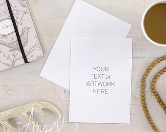 Note card mockup etsy card mock up and envelope styled flatlay styled photography whitewashed wooden surface antlers and note social media high resolution reheart Images