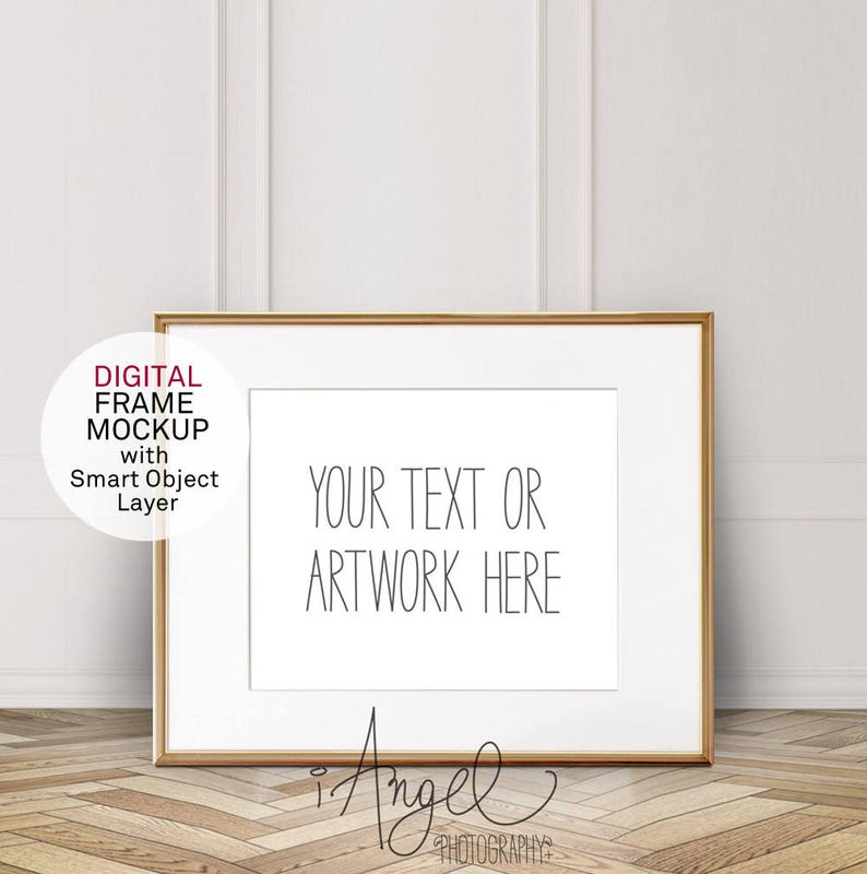 Gold Horizontal 8x10'' Frame Mockup, with mounting, Vintage White wall and  parquet floor, Poster Mockup, Hip Styled Photo