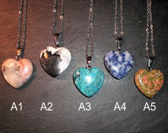 Rear view mirror, heart shape stone pendent-Group A