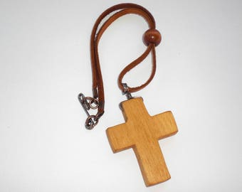 Rear View Mirror Cross, Simple-SM-P, wooden cross, christian jewelry