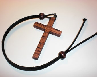 Rear View Mirror Cross-Simple-LG 1/4 inch-Red Oak