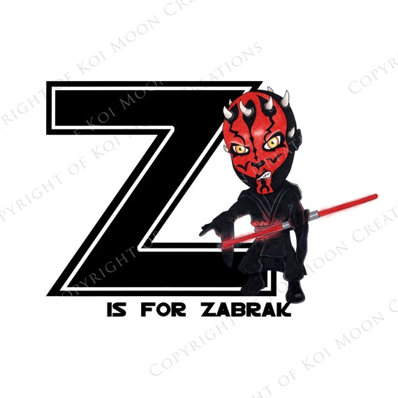 Z Is For Zabrak Star Wars Alphabet Digital Download 8x10 Etsy