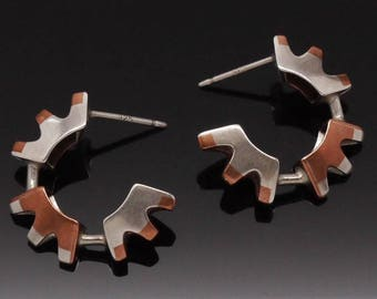 """Silver copper crescent  11/16"""" handcrafted modern earrings"""