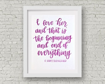 Great Gatsby Quote / F. Scott Fitzgerald / Calligraphy Print / Hand Lettering / Love Quote / Wall Decor / Watercolor / 8x10