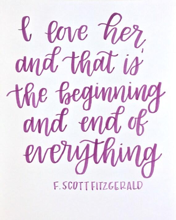 Grand Gatsby Le Magnifique Citation F Scott Fitzgerald Calligraphy Print à La Main Lettrage Amour Citation Wall Decor Aquarelle 8 X 10
