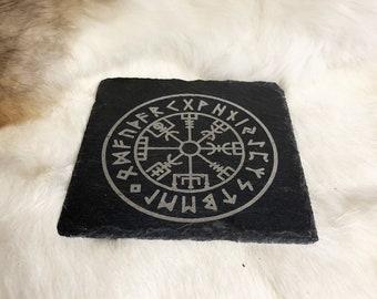 table decor and housewarming gift Norse pagan elder futhark coasters Wood Set of 6 Viking Coasters